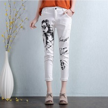 Women's Fashion Personalized Character Print Jeans Female Classic White Vintage Pencil Pants Trousers Plus Size 26-32 L681