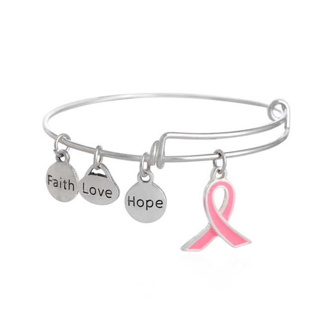 T Cancer Awareness Pink Ribbon Faith Love Hope Charms Bracelet Expandable Wire Bangle Adjule