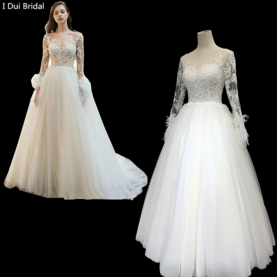 Feather Wedding Dress Long Sleeve Lace Appliqued Beaded Bridal Gown