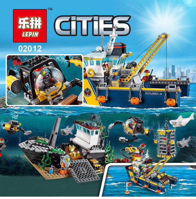 LEPIN 02012 City Deepwater Exploration Vessel 60095 Building Blocks Policeman Toys Children Compatible with lego gift kid sets gonlei 02012 774pcs city series deepwater exploration vessel children educational building blocks bricks toys model gift 60095