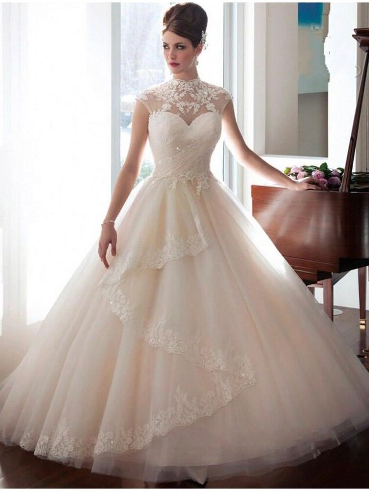 Fansmile High Vestidos De Novia Tulle Vintage Ball Gown Wedding Dress 2019 Princess Quality Lace Wedding Bride Dress FSM-022T