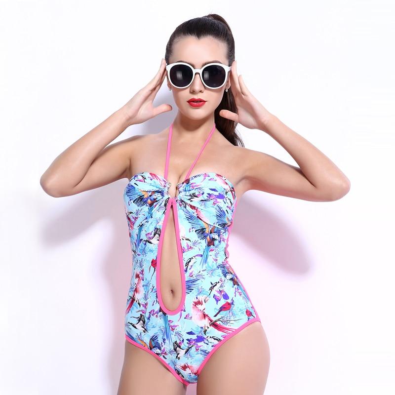 female one-piece women swimwear sexy sling back lace sky blue black printed halter open navel swimsuit bathing suit body suit blue sky чаша северный олень