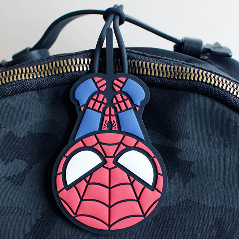 Travel Accessories Cartoon Silica Gel Spiderman Luggage Tag Women Portable Label Suitcase ID Address Holder Baggage Boarding