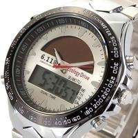 Men S Sport Watch Men Dual Time Zone Solar Full Steel Clock Business Male Relogio Digital