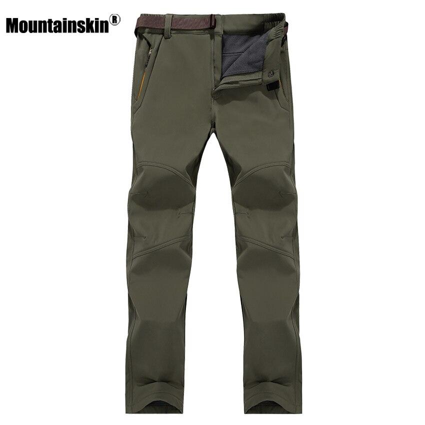 7XL Men's Winter Softshell Fleece Pants Outdoor Waterproof Hiking Camping Trekking Climbing Warm Male Sportswear Trousers VA185