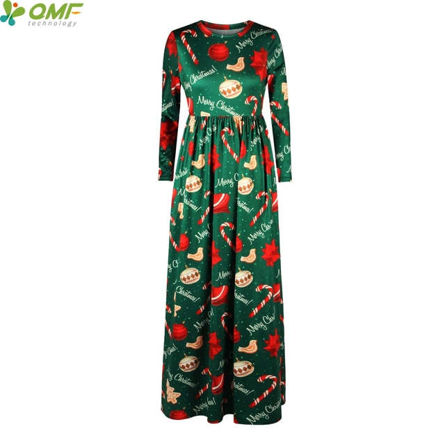 Christmas Party Tennis Long Dress Winter Maxi Dresses Women Vintage  Vestidos Holiday Christmas Ornaments Dress Floor-Length d940743a2a8a