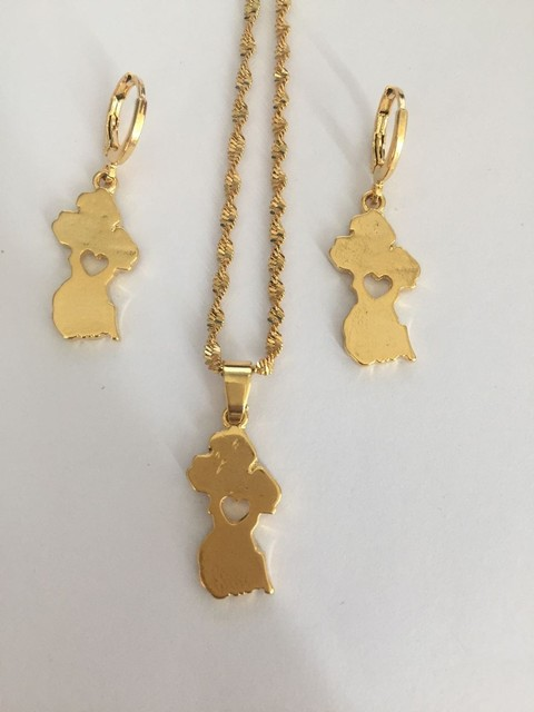 Gold Map Of Guyana Pendant Necklace Earrings Women S Boy Men Party Trendy Jewelry Set Gifts