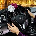PAPÁ diamante cubierta del volante del coche de moda para niñas de color rosa negro de cuero de LA PU Cuatro Estaciones Car Styling Accesorios Interiores