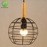 Free Shipping Modern Iron Pendant Light Industrial Loft Lamps Bar Decoration Lighting Fixtures Metal Cage with Led Bulb