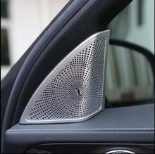2pcs Car Side Door Tweeter Speaker Frame Cover Trim for Mercedes Benz New C-Class Car styling 3D stickers