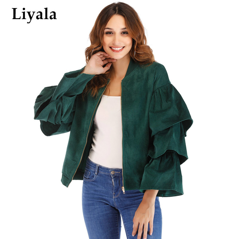 2018 Fashion Green Ruffle Sleeve Bomber   Jacket   Outwear Women Coat Casual Zipper Up   Basic     Jacket   Female Short Baseball   Jacket