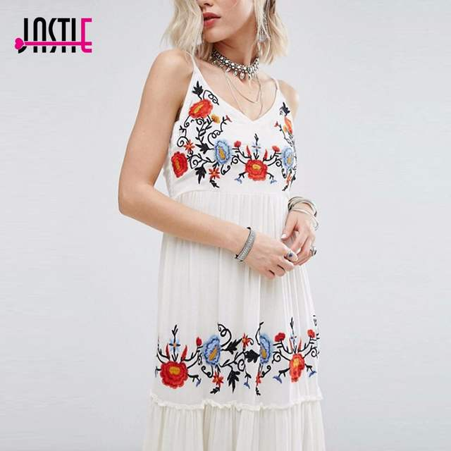 324561e1508 Jastie White Dress Floral Embroidered Maxi Dress Elegant Party Dress Boho  People Casual Beach Long Dresses