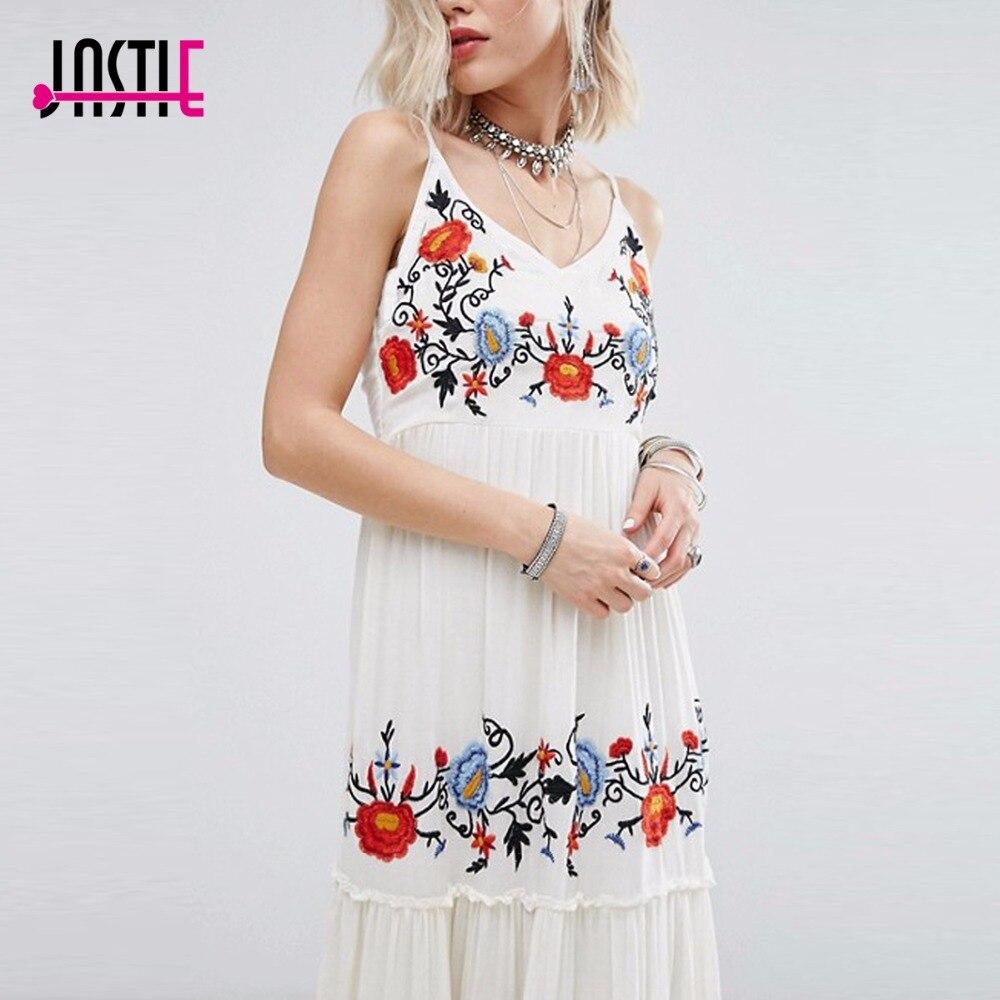 Jastie robe blanche Floral brodé Maxi robe élégante robe de soirée Boho décontracté plage longues robes d'été femmes robes - 3