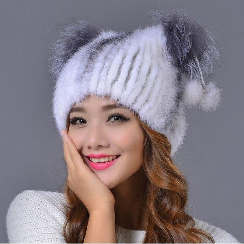ᐂDe las mujeres de visón sombrero de piel con POM poms invierno ...