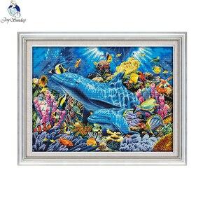 Image 1 - Joy Sunday, дельфин в море D952, большая декоративная сетка для гостиной, вышивка своими руками, вышивка крестиком 11CT 14CT