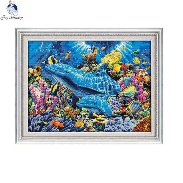 Joy Sunday, дельфин в море D952, большая декоративная сетка для гостиной, вышивка своими руками, вышивка крестиком 11CT 14CT