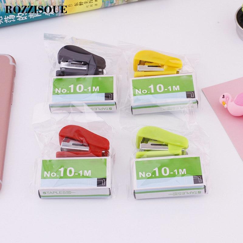 HOT 1PCS Super Grapadora Kawaii Mini Graffette Cucitrice Small Stapler Useful Mini Stapler Staples Set Office Binding Stationery