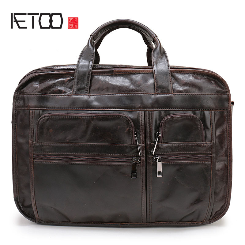 AETOO New Europe and the United States popular leather men's bag men's business briefcase portable computer bag shoulder Messeng 18 years in europe and the united states new custom personality design show small retro unique portable organ leather handbags