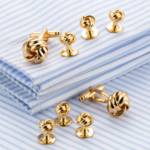 Vagula Brass Knot Cufflinks Collar Studs 8pcs Jewelry Top Tuxedo Cuff Link 537