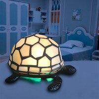 GERUITE Retro Tortoise Night Light Tiffany Lamp Bedroom Bedside Decoration Desk Lamp Metal Glass Turtle Table