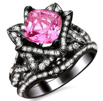 hot black gold wedding ring set pink paved zircon - Black And Pink Wedding Ring Sets