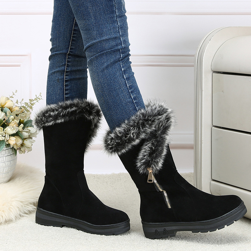 Well-Educated Women Winter Shoes Women's Middle Barrel Boots The New 2 Color Fashion Casual Fashion Flat Warm Woman Snow Boots Free Shipping Products Are Sold Without Limitations