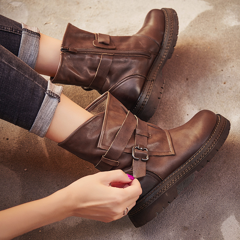 Autumn Casual Joker Leather Handmade Martin Boots  Women Boots  Women Shoes  Ankle Boots For Women  Winter Boots For Girls