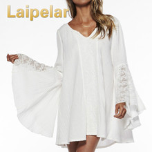 2018 Spring Women Vintage Dress For Hippie Boho Bell Long Sleeve Gypsy Festival Casual White Plus Size Loose Lace Mini Dress