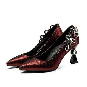 Image 4 - ALLBITEFO כבש אמיתי עור נשים גבוהה העקב נעלי יהלומים מלאכותיים אופנה סקסית גבוהה עקבים נשים עקבים נעלי chaussures femme