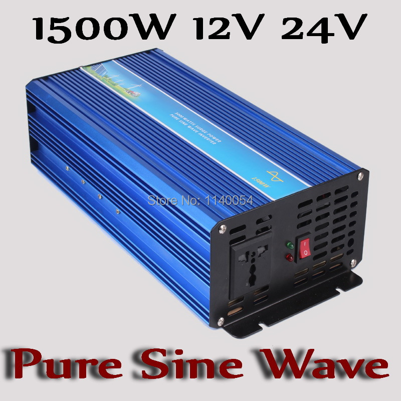 1500W Off Grid Inverter 12V 24V DC to AC 100/110/120VAC or 220/230/240VAC with 3000W Surge Power, Solar Wind Inverter 1500W 24V solar power on grid tie mini 300w inverter with mppt funciton dc 10 8 30v input to ac output no extra shipping fee
