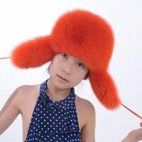 The new children's fur hat leather fox fur hats fox fur cap Lei Feng winter Unisex children cap