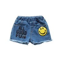 Baby Girls Boys Shorts Smiling Face Printed Jeans Pocket Demin Summer Pants For 1-6 High Quality