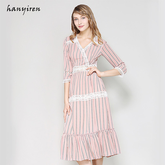 Hanyiren 2018 Summer V Neck Sexy Lace Dress Women Bohimian Style Pink Striped Short Sleeve Slim Dresses Lace Fish Tail Dress