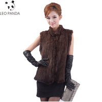 Superior quality Women Mink Fur Vest Winter Real Genuine Knitted Mink Fur Vest Lady Stand Collar Sleeveless Waistcoat Gilet