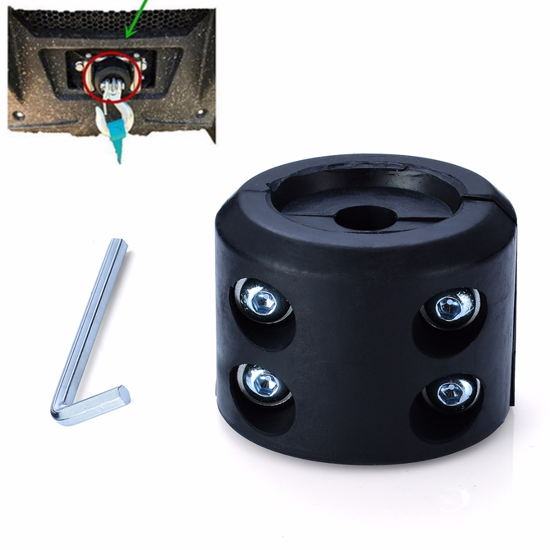 ATV UTV Winch Cable Hook Mount Stop Stopper Rubber Cushion Black Winch Cable Hook Stopper Winch Line Saver Stopper