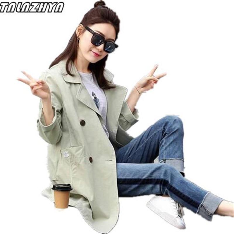 TNLNZHYN 2019 jaro podzim ženy trenčkot dvouprsé kapsy středně dlouhé outweary ležérní volná větrovka Co11