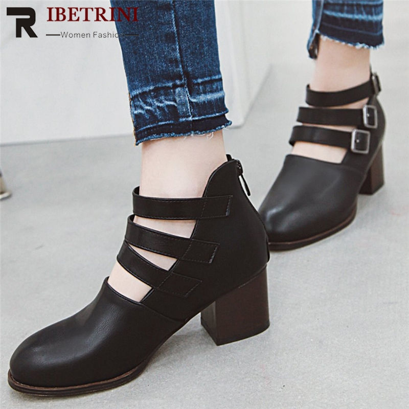 Buckle up Chunky High Heels women shoes Women's Boot