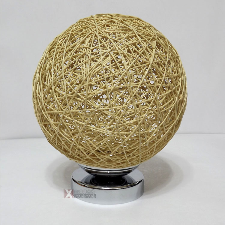 ФОТО New Modern Rural Hand Knitted Wicker Led E27 Table Lamp For Living Room Bedroom Bedside Bar Deco 2212
