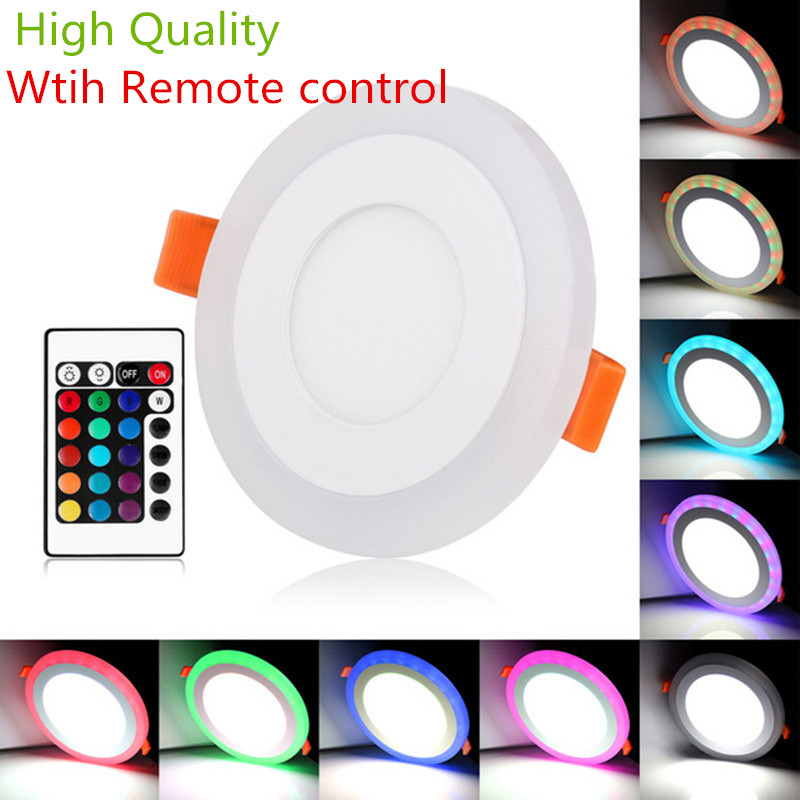 Double color RGB 3 Models LED Panel Light with Remote Control 6w/9w/16w/24W AC85-265V Recessed LED Ceiling downlight Panel LampsDouble color RGB 3 Models LED Panel Light with Remote Control 6w/9w/16w/24W AC85-265V Recessed LED Ceiling downlight Panel Lamps