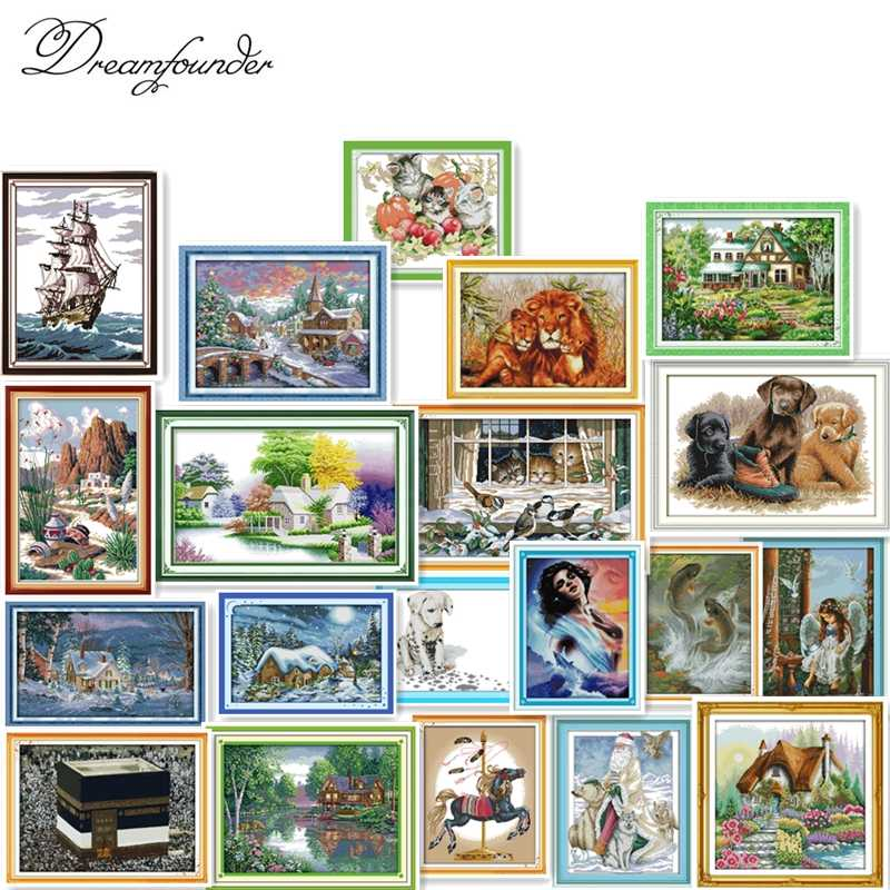 Carton people paisaje animal kit de punto de cruz Aída 18ct cuenta sin imprimir lienzo puntos bordado DIY hecho a mano costura