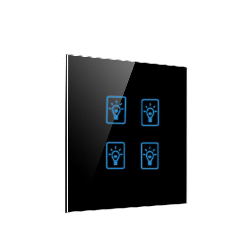 EU UK Standard Smart Home Wall Touch Switch,4 Gang 1 Way Light Wall Tact Sensor Switch,AC 220-250V,Crystal Glass Panel