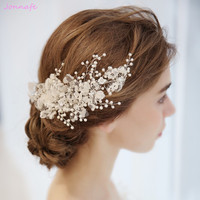 Jonnafe Lace Flower Bridal Barrttes Hair Clip Pearls Wedding Hair Comb Jewelry Handmade Women Accessories Headpiece