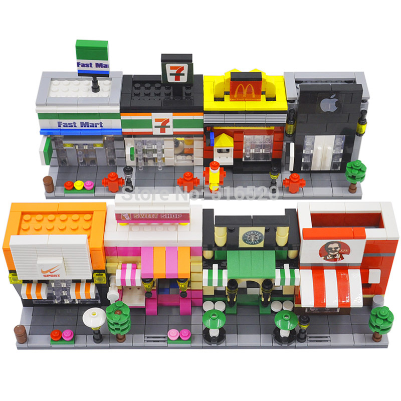 Legoingly City Mini Street Scene 3D Retail Store Architectures Educational Building Blocks Sets Model Toys For Children In From Hobbies On
