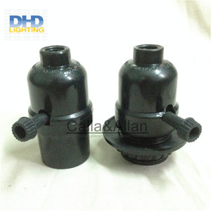 Image 2 - 50units/set black bakelite light sockets with chain switch or key switch E27 lamp holders black plastic lighting sockets
