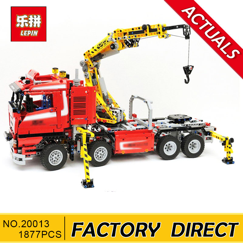 Lepin 20013 1877pcs Technic Ultimate Mechanical Series The Electric Crane Truck Set Building Blocks Bricks Funny Gifts Toys 8258 new lepin 20013 technic series 1877pcs the electric crane truck model building blocks bricks compatible 8258 toy christmas gift