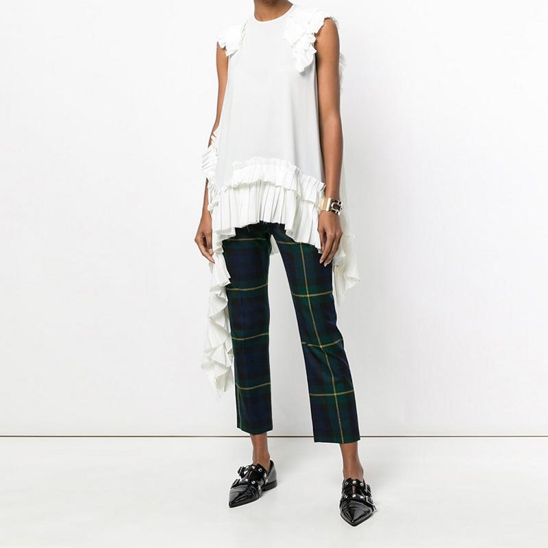 New 2019 European Fashion Summer Women Solid White Irregular Tee Top Sleeveless Ruffles Hem Girls Hippie Chic T-shirt Style 3659