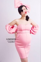 Maternity Pregnant Women Photography Props Romantic Pink Cute bow-knot Dress Photo Shoot Fancy Costume Free Size Baby Shower