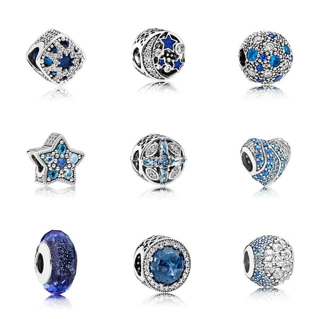 925 Sterling Silver Heart Snowflake Ocean Zircon Beads Fit Original Pandora Bracelet Bracelet Beads Silver 925 Fashion Jewelry