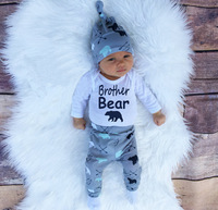 0 2Y Brother Beer Baby Beanies Hat Cotton Cute Bodysuits Clothes Jumpsuit Bear Leging Harem Pants