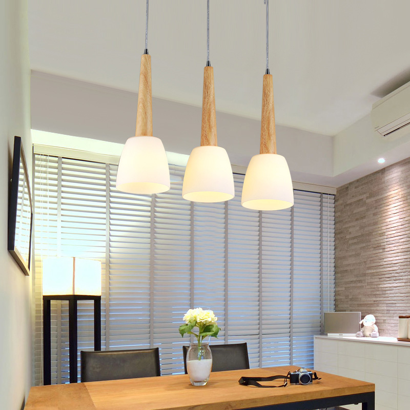 Modern minimalist wood study lamps dining room lamp led ceiling light three pastoral garden asile